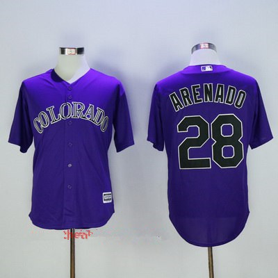 Men's Colorado Rockies #28 Nolan Arenado Purple Stitched MLB Majestic Cool Base Jersey