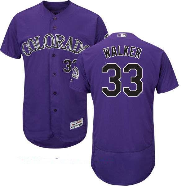 Men's Colorado Rockies #33 Larry Walker Retired Purple Stitched MLB Majestic Flex Base Jersey