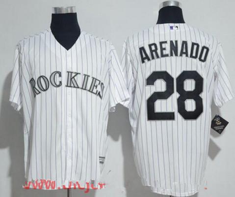 Men's Colorado Rockies #28 Nolan Arenado White Home Stitched MLB Majestic Cool Base Jersey