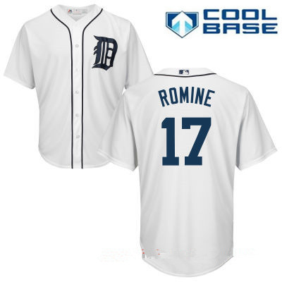 Men's Detroit Tigers #17 Andrew Romine White Home Stitched MLB Majestic Cool Base Jersey