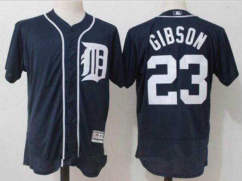 Men's Detroit Tigers #23 Kirk Gibson Retired Navy Blue Stitched MLB Majestic Flex Base Jersey