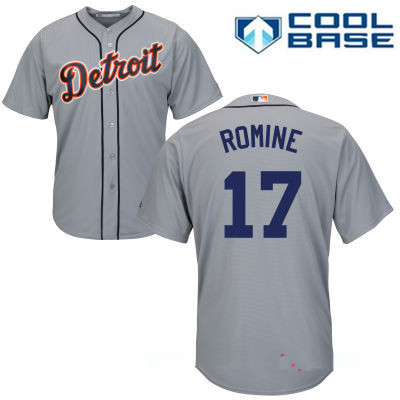 Men's Detroit Tigers #17 Andrew Romine Gray Road Stitched MLB Majestic Cool Base Jersey