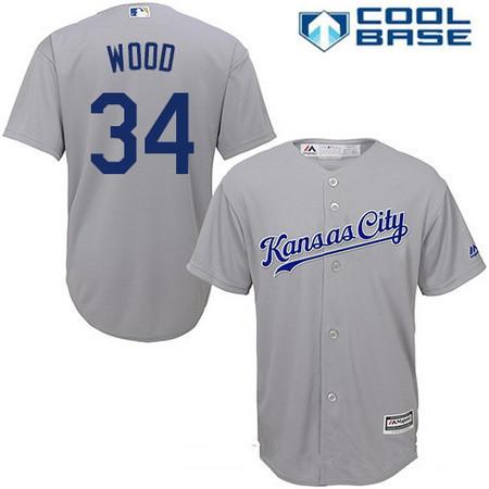 Men's Kansas City Royals #34 Travis Wood Gray Road Stitched MLB Majestic Cool Base Jersey
