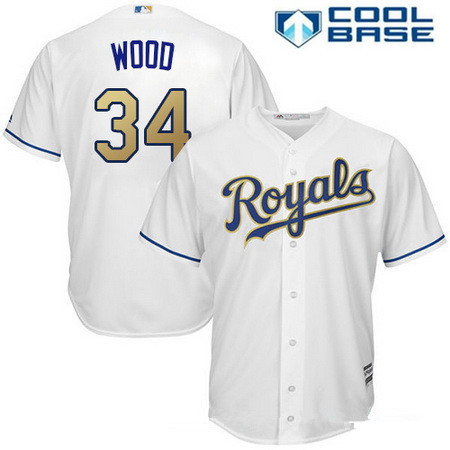 Men's Kansas City Royals #34 Travis Wood Replica White Home Cool Base MLB Jersey