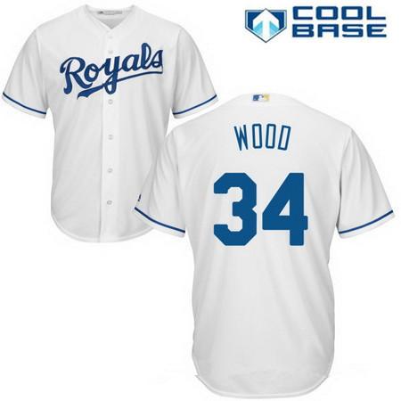 Men's Kansas City Royals #34 Travis Wood White Home Stitched MLB Majestic Cool Base Jersey