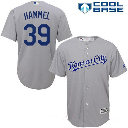 Men's Kansas City Royals #39 Jason Hammel Gray Road Stitched MLB Majestic Cool Base Jersey