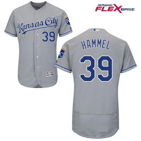 Men's Kansas City Royals #39 Jason Hammel Gray Road Stitched MLB Majestic Flex Base Jersey