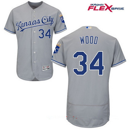 Men's Kansas City Royals #34 Travis Wood Gray Road Stitched MLB Majestic Flex Base Jersey