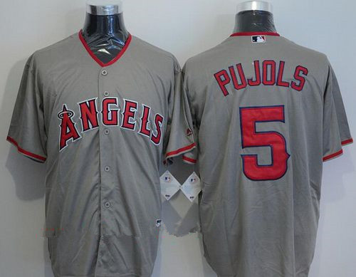 Men's Los Angeles Angels of Anaheim #5 Albert Pujols Gray Road Stitched MLB Majestic Cool Base Jersey