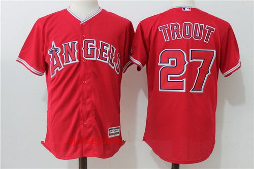 Men's Los Angeles Angels Of Anaheim #27 Mike Trout Red Stitched MLB Majestic Cool Base Jersey