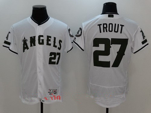 Men's Los Angeles Angels Of Anaheim #27 Mike Trout White with Green Memorial Day Stitched MLB Majestic Flex Base Jersey