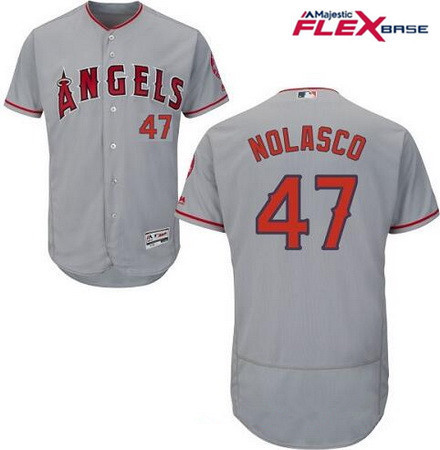 Men's Los Angeles Angels of Anaheim #47 Ricky Nolasco Gray Road Stitched MLB Majestic Flex Base Jersey