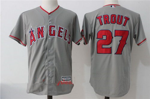 Men's Los Angeles Angels Of Anaheim #27 Mike Trout Gray Road Stitched MLB Majestic Cool Base Jersey