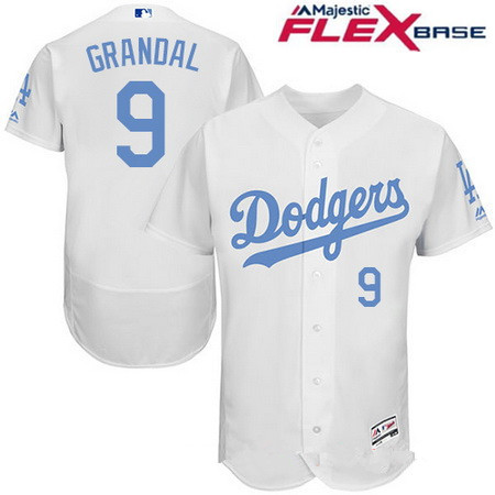 Men's Los Angeles Dodgers #9 Yasmani Grandal White 2016 Father's Day Stitched MLB Majestic Flex Base Jersey