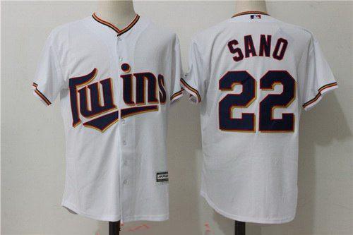 Men's Minnesota Twins #22 Miguel Sano White Home Stitched MLB Majestic Cool Base Jersey