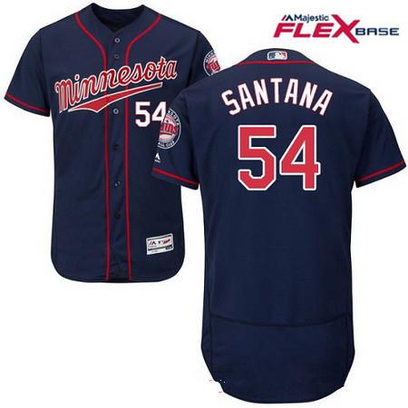 Men's Minnesota Twins #54 Ervin Santana Navy Blue Alternate Stitched MLB Majestic Flex Base Jersey