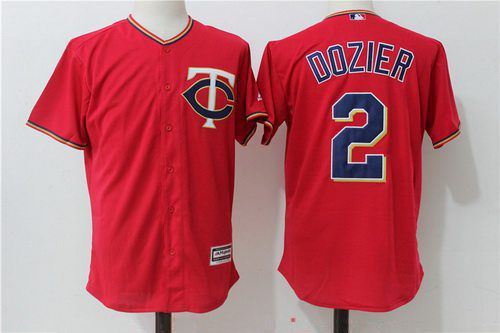 Men's Minnesota Twins #2 Brian Dozier Red Alternate Stitched MLB Majestic Cool Base Jersey