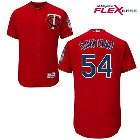 Men's Minnesota Twins #54 Ervin Santana Scarlet Red Alternate Stitched MLB Majestic Flex Base Jersey