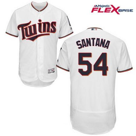 Men's Minnesota Twins #54 Ervin Santana White Home Stitched MLB Majestic Flex Base Jersey
