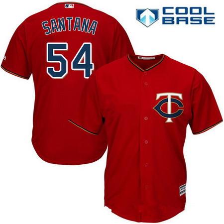 Men's Minnesota Twins #54 Ervin Santana Scarlet Red Alternate Stitched MLB Majestic Cool Base Jersey
