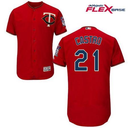 Men's Minnesota Twins #21 Jason Castro Scarlet Red Alternate Stitched MLB Majestic Flex Base Jersey