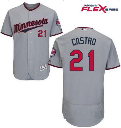 Men's Minnesota Twins #21 Jason Castro Gray Road Stitched MLB Majestic Flex Base Jersey