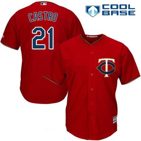 Men's Minnesota Twins #21 Jason Castro Scarlet Red Alternate Stitched MLB Majestic Cool Base Jersey