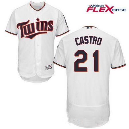 Men's Minnesota Twins #21 Jason Castro White Home Stitched MLB Majestic Flex Base Jersey