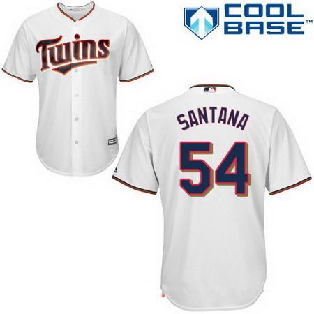 Men's Minnesota Twins #54 Ervin Santana White Home Stitched MLB Majestic Cool Base Jersey
