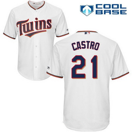 Men's Minnesota Twins #21 Jason Castro White Home Stitched MLB Majestic Cool Base Jersey