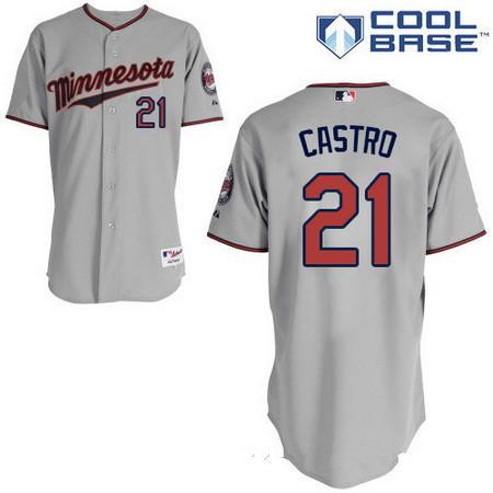 Men's Minnesota Twins #21 Jason Castro Gray Road Stitched MLB Majestic Cool Base Jersey