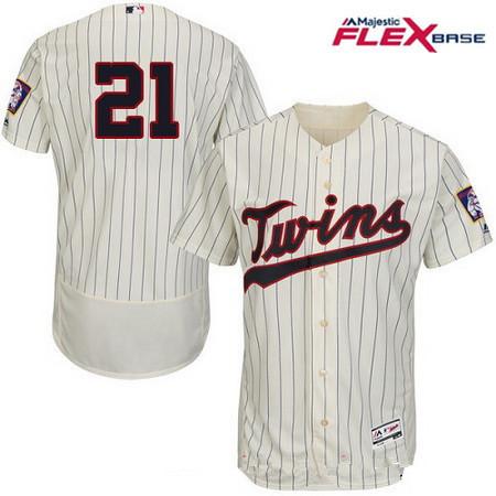 Men's Minnesota Twins #21 Jason Castro Cream Alternate Stitched MLB Majestic Flex Base Jersey
