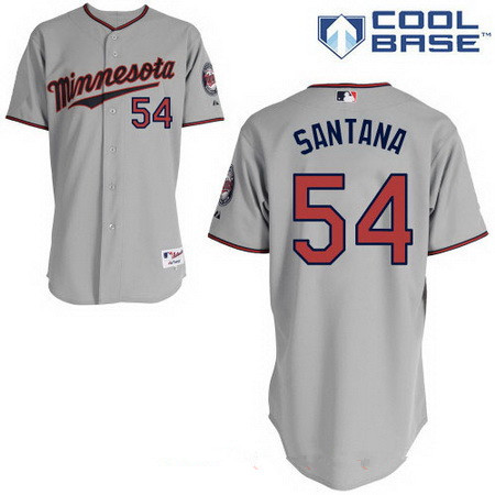 Men's Minnesota Twins #54 Ervin Santana Gray Road Stitched MLB Majestic Cool Base Jersey