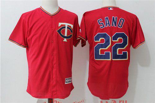 Men's Minnesota Twins #22 Miguel Sano Red Alternate Stitched MLB Majestic Cool Base Jersey