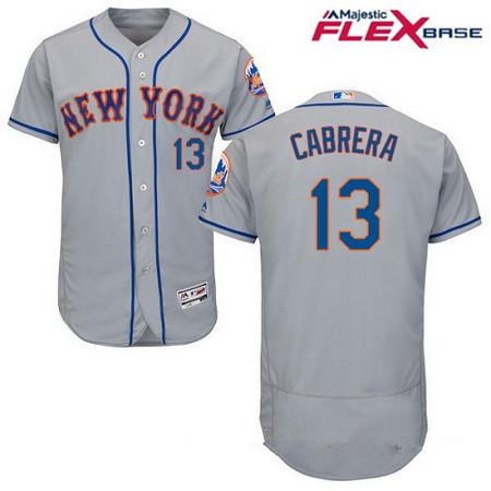 Men's New York Mets #13 Asdrubal Cabrera Gray Road Stitched MLB Majestic Flex Base Jersey