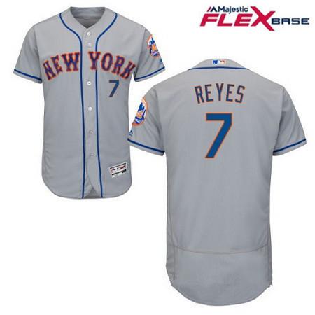 Men's New York Mets #7 Jose Reyes Gray Road Stitched MLB Majestic Flex Base Jersey