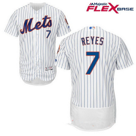 Men's New York Mets #7 Jose Reyes White Home Stitched MLB Majestic Flex Base Jersey