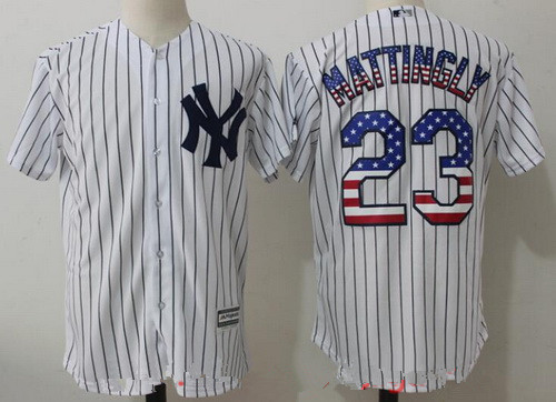 18dd34b4c66 ... Mens New York Yankees 23 Don Mattingly White USA Flag Fashion Stitched  MLB Majestic Cool ...