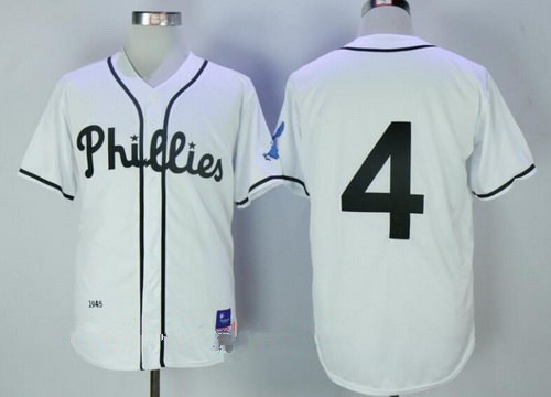 Men's Philadelphia Phillies #4 Lenny Dykstra White 1945 Throwback Jersey By Mitchell & Ness