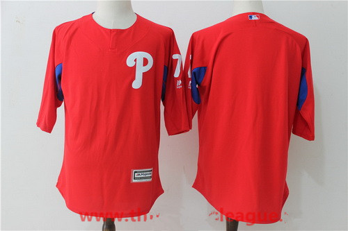 Men's Philadelphia Phillies #7 Maikel Franco Red Collection On-Field 3-4-Sleeve Stitched MLB Majestic Batting Practice Jersey