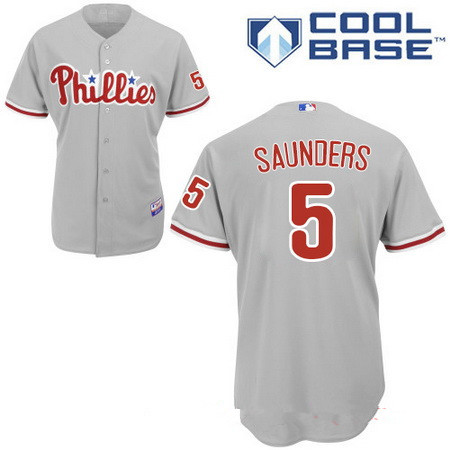 Men's Philadelphia Phillies #5 Michael Saunders Gray Road Stitched MLB Majestic Cool Base Jersey