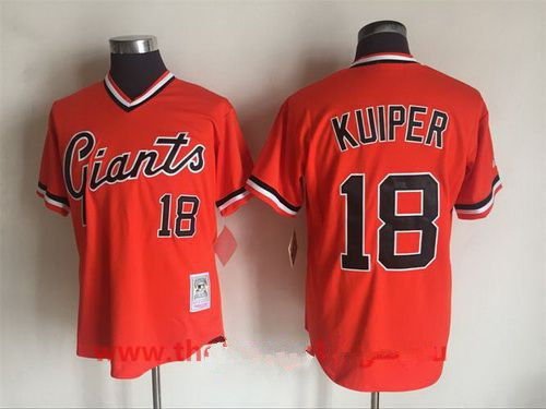 Men's San Francisco Giants #18 Duane Kuiper Orange Pullover Throwback Cooperstown Collection Stitched MLB Mitchell & Ness Jersey
