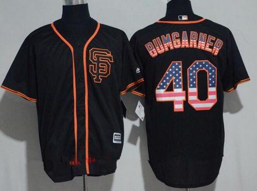 Men's San Francisco Giants #40 Madison Bumgarner Black SF USA Flag Fashion Stitched MLB Majestic Cool Base Jersey