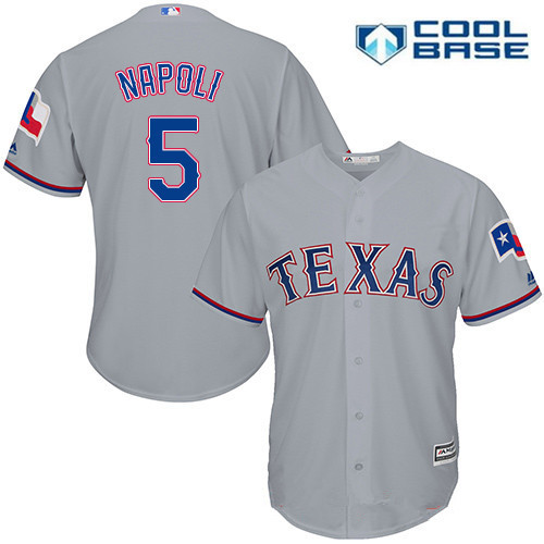 Men's Texas Rangers #5 Mike Napoli Gray Road Stitched MLB Majestic Cool Base Jersey