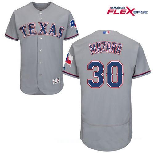 Men's Texas Rangers #30 Nomar Mazara Gray Road Stitched MLB Majestic Flex Base Jersey