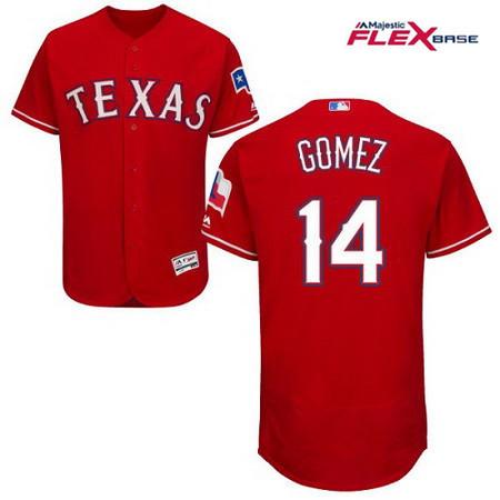Men's Texas Rangers #14 Carlos Gomez Red Alternate Stitched MLB Majestic Flex Base Jersey