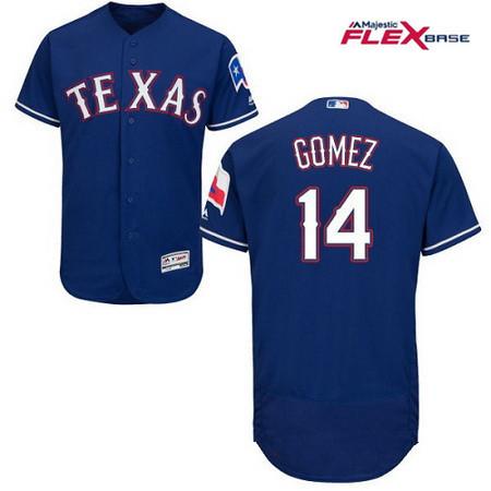 Men's Texas Rangers #14 Carlos Gomez Royal Blue Alternate Stitched MLB Majestic Flex Base Jersey