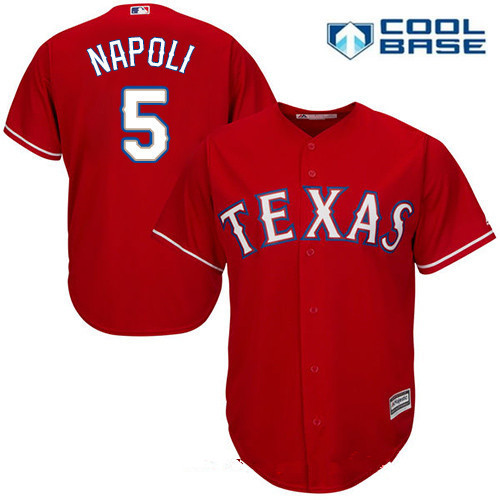 Men's Texas Rangers #5 Mike Napoli Red Alternate Stitched MLB Majestic Cool Base Jersey