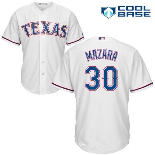 Men's Texas Rangers #30 Nomar Mazara White Home Stitched MLB Majestic Cool Base Jersey