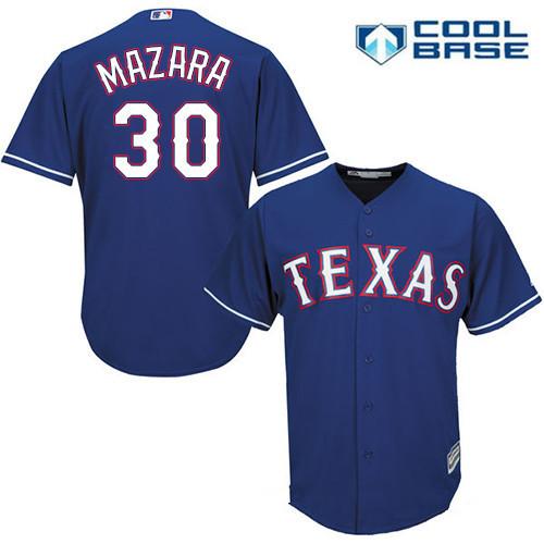 Men's Texas Rangers #30 Nomar Mazara Royal Blue Alternate Stitched MLB Majestic Cool Base Jersey